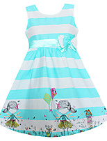 Girls Dress Blue Striped Bow Dresses Party Holiday Pageant Children Clothes