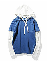 Men's Daily Hoodie Solid Color Block Hooded Inelastic Cotton Long Sleeve Spring Fall