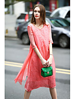 Women's Going out Casual/Daily Cute A Line Dress,Solid Round Neck Knee-length Linen Spring Summer Mid Rise Inelastic Medium