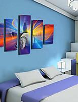 Art Print Retro,Five Panels Horizontal Print Wall Decor For Home Decoration