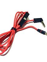 Kopfhörerkabel mit Mikrofon Fernbedienung Talk 3.5mm Stecker auf männliche Stereo Audio Schnüre 120cm rot