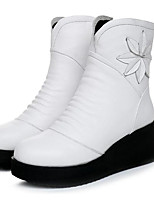 Women's Boots Comfort Cowhide Nappa Leather Spring Casual Comfort Black White Flat