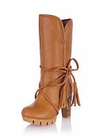Для женщин Ботинки Удобная обувь Полиуретан Весна Повседневный Черный Бежевый Коричневый На плоской подошве