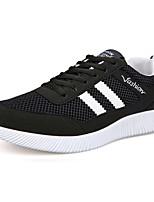 Men's Athletic Shoes Comfort PU Summer Outdoor Running Comfort Lace-up Flat Heel Black Gray Blue Under 1in