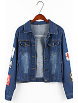 Women's Going out Casual/Daily Simple Street chic Summer Denim Jacket,Solid Shirt Collar Long Sleeve Regular Cotton