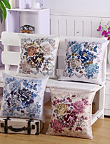 Set Of 4 Top Grade Slub Gorgeous Flowers Pillow Cover Vintage Pillow Case