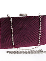 Women Evening Bag Polyester All Seasons Wedding Event/Party Formal Party & Evening Club Rectangle Pleated Clasp LockPurple Apricot Silver