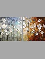 מצויר ביד פרחוני/בוטני מאוזן,פסטורלי סגנון ארופאי שני פנלים בד ציור שמן צבוע-Hang For קישוט הבית