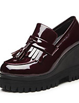 Women's Heels Comfort Patent Leather Spring Casual Comfort Burgundy Black Flat