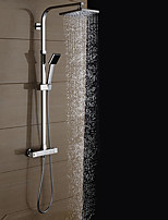 Contemporary Shower System Rain Shower Handshower Included Thermostatic with  Ceramic Valve Two Handles Two Holes for  Chrome , Shower
