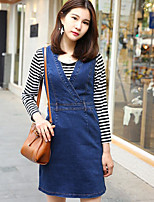 Women's Casual/Daily Simple Summer T-shirt Dress Suits,Striped Round Neck Long Sleeve Micro-elastic