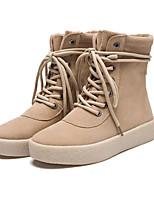 Для женщин Ботинки Удобная обувь Полиуретан Весна Повседневный Черный Хаки На плоской подошве