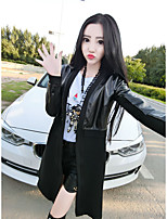 Women's Casual/Daily Vintage Fall Leather Jacket,Solid Round Neck Long Sleeve Short Cowhide