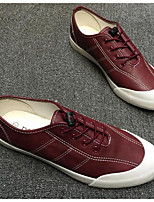 Men's Sneakers Comfort Canvas PU Spring Casual White Gray Burgundy Flat