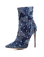 Women's Boots Gladiator Denim Fall Winter Casual Office & Career Party & Evening Dress Gladiator Split Joint Plaid Stiletto HeelLight