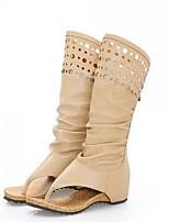 Для женщин Ботинки Удобная обувь Модная обувь Полиуретан Лето Повседневные Удобная обувь Модная обувь Бежевый Хаки 4,5 - 7 см