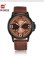NAVIFORCE Men's Dress Watch Fashion Watch Japanese Quartz Calendar Water Resistant / Water Proof Leather Band Cool Casual Black Brown
