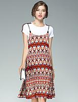 Damen Zweiteiler Kleid-Ausgehen Lässig/Alltäglich Street Schick Geometrisch Rundhalsausschnitt Knielang Kurzarm Polyester Sommer Herbst