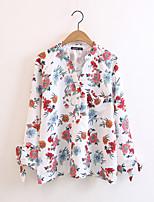 T-shirt Da donna Per uscire Casual Sensuale Semplice Moda città Estate,Fantasia floreale Rotonda Cotone Manica a 3/4Sottile Medio