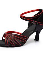 Для женщин Латина Шёлк Сандалии Для закрытой площадки Каблуки на заказ Черный/Красный Персонализируемая