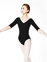 Ballet Leotards Women's Training Cotton Spandex Lace 1 Piece Half Sleeve High Leotard