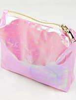 Women Cosmetic Bag PVC All Seasons Casual Round Zipper Blushing Pink Blue