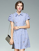 EWUS/Women's Going out Casual/Daily Street chic A Line DressFloral Shirt Collar Above Knee Short Sleeve Polyester Summer Fall High Rise