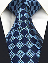 CXL22 New Extra Long 63For Men Neckties Blue Checked 100% Silk Handmade Business Dress Casual Fashion