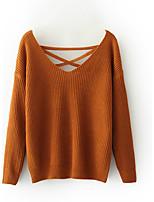 Standard Pullover Da donna-Per uscire Casual Semplice Moda città Tinta unita A V Manica lunga Lana Primavera Inverno Medio spessoreMedia