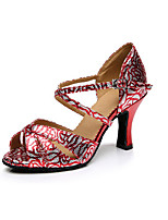 Women's Latin Synthetic Heels Professional Flower Pattern/Print Cuban Heel Gold Ruby 2