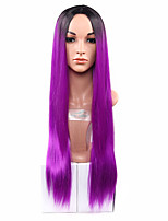 Ombre Synthetic Wig Heat Resistance Hair Wigs For Female black to two tones ombre Purplr Hair Wig