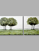 IARTS® Abstract Oil Painting Countryside Tree Landscape Set of 2 with Stretched Frame Handmade Oil Painting For Home Decoration Ready To Hang