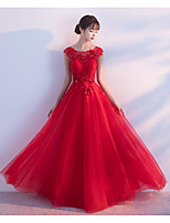 Formal Evening Dress - Lace-up A-line Jewel Floor Length Tulle with Beading