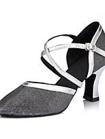 Mujer Latino Semicuero Sandalias Zapatillas Profesional Hebilla Tacón Stiletto Dorado Negro Plata 5-7cms Personalizables