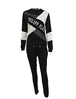 Women's Sports Holiday Casual/Daily Simple Street chic Fall Winter T-shirt Pant Suits,Quotes & Sayings Round Neck Long Sleeve