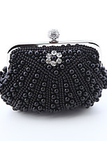Women Evening Bag Special Material All Seasons Wedding Event/Party Formal Square Rhinestone Chain Magnetic Beige Black White