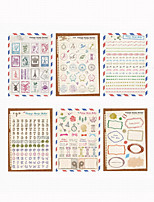 Retro DIY Paper Print Stamp Diary Decoration Stickers 6PCS/SET