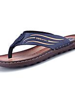 Men's Slippers & Flip-Flops Comfort PU Spring Summer Casual Low Heel Dark Brown Blue Under 1in