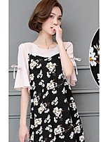 Women's Going out Cute Blouse,Polka Dot Color Block Round Neck Half Sleeve Cotton Polyester Medium