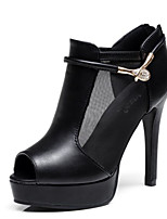Women's Heels Comfort Summer PU Casual Black 4in-4 3/4in