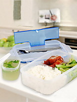 1000Ml Modern Solid Ecofriendly Portable Outdoor Microwave Lunch Box With Soup Bowl Chopsticks Spoon Food
