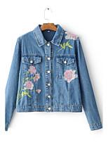 Feminino Jaqueta jeans Para Noite Casual Activo Moda de Rua Primavera Outono,Sólido Padrão Algodão Outros Colarinho de Camisa Manga Longa