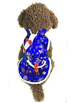 Perro Chaleco Ropa para Perro Año Nuevo Flores/Botánica Rojo Azul
