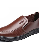 Men's Oxfords Comfort Light Soles PU Spring Fall Party & Evening Comfort Light Soles Flat Heel Brown Black Flat