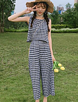 Women's Daily Modern/Comtemporary Summer T-shirt Pant Suits,Plaid/Check Round Neck Sleeveless