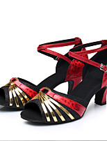 Women's Latin Sparkling Glitter Paillette Synthetic Patent Leather Glitter Leatherette Sandals Heels Sneakers IndoorSequin Buckle