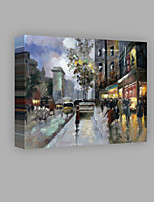 IARTS® Modern Abstract Modern Town Centre View in The Rain Scenery Handmade Oil Painting On Canvas with Stretched Frame Wall Art For Home Decoration R