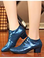 Women's Dance Sneakers Real Leather PU Sandals Sneakers Indoor Chunky Heel Blue 2