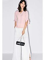 Damen Solide Einfach Alltag Normal Bluse,V-Ausschnitt Halbe Ärmel Polyester