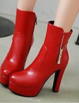 Damen Schuhe PU Herbst Winter Komfort Springerstiefel Stiefel Für Normal Schwarz Grau Rot